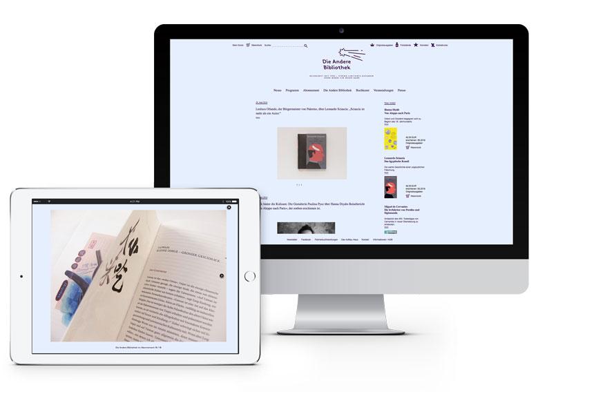 Website Andere Bibliothek